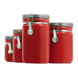 Anchor Hocking - Red Canister 4-Piece Set - Our 4-Piece Red Ceramic Canister set keeps your sugars, seasonings, coffees organized and secure in the stylish way. Perfect for your pantry but cute enough for your countertop.