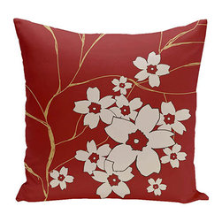 e by design - Floral Red 20-Inch Cotton Decorative Pillow - - Decorate and personalize your home with coastal cotton pillows that embody color and style from e by design  - Fill Material: Synthetic down  - Closure: Concealed Zipper  - Care Instructions: Spot clean recommended  - Made in USA e by design - CPO-NR3-Multiple_Buddha_Emperor-20