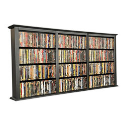 Venture Horizon - Triple Wide Wall Mount Media Cabinet in Black - Mounts on any wall. Adjustable shelving. Large storage capacity. Solid, sturdy and easy to clean. Constructed from durable, stain resistant and laminated wood composites that includes MDF. Made in the USA. Assembly required. Media storage capacity:. CD's : 1026. DVD's : 480. Blu-ray's: 576. VHS tapes: 264. Disney tapes: 162. Audio cassettes: 1000+. Weight: 28 lbs.. Shelf depth: 6 in.. Assembled size: 76 in. W x 8.5 in. D x 36.25 in. HYou may have seen other Wall Mounted Media Cabinets but you have never come across the styling, variety, storage capacity or value for the money, anywhere. Nobody does it better! We beat the competition...hands down. We offer 3 sizes in 5 colors. We also did not skimp on the sizing like many other manufacturers. Free up needed floor space. Our Wall Mounted Media Cabinets will indeed hold an entire media collection and then some. Our units hold nearly twice (2X) more media (CD's, DVD's and blue-rays) than our leading competitors. Not only that but our units are also less expensive. All that in a wall hugging slim cabinet design. Shelves are only 6 in. deep but a generous 23 in. wide. Each shelf will hold approximately 20 lbs. The 28 in. wide Single Cabinet has 5 adjustable shelves plus the fixed base. The 52 in. Double has 10 adjustable shelves plus 2 base sections for storage.