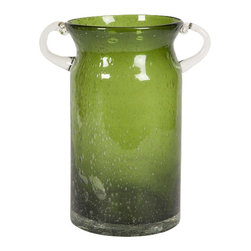 IMAX CORPORATION - Stevenson Handblown Large Green Glass Jar - Admired for its beauty and simple elegance, this olive toned bubble glass is hand blown into a rimless wide mouth jar with clear handles. Find home furnishings, decor, and accessories from Posh Urban Furnishings. Beautiful, stylish furniture and decor that will brighten your home instantly. Shop modern, traditional, vintage, and world designs.