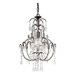 Minka Lighting - Single-Light Crystal Chandelier - 3123-489 - This crystal mini-chandelier features a bronze finish and includes six feet of chain. It measures 20 inches tall by 12-1/2 inches wide. Takes (1) 60-watt incandescent A19 bulb(s). Bulb(s) sold separately. Dry location rated.