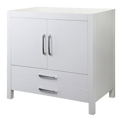Decolav - Decolav 5223-WHT Cameron Collection Vanity - DECOLAV's Cameron Vanity has double front doors and a deep lower drawer. Soft closing door hinges and drawer slides allows for a smooth secure close.