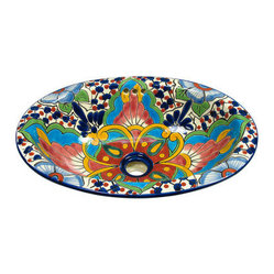 Mexican Artisans - Small Oval Talavera Sink - Introduce some Spanish flair to beautify your baño. This bright ceramic sink is hand-painted in the traditional Talavera style to bring a bit of wonder to every wash.