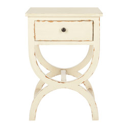 Safavieh - Maxine Night Table - Posh and petit, the Maxine Night Table is the quintessential piece for a vintage look in the boudoir. Ideal for virtually any dcor, this poplar accent piece with distressed vanilla finish and zinc knob is the perfect pairing of graceful curves and practical magic.