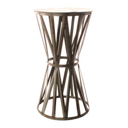 Kathy Kuo Home - Jaswant Industrial Rustic Verdi Green Tall Drum Iron Side Table - Drumroll, please! Crosshatched metal bands are riveted to the top and bottom and cinched together to create this tapered drum-shaped side table. Finished with antique paint for an exceptional look, this unique iron table makes a bang-on by-the-door accent table!