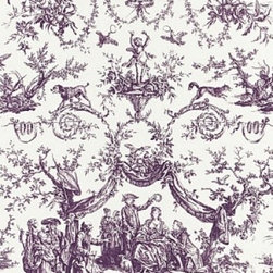 Schumacher - Le Couronnement de la Rosière Fabric - Add a touch of elegance to your upholstery with this all-cotton fabric printed with a pattern inspired by an 18th century French document depicting a bishop and his customs. Available in four richly saturated colors. There is a two-yard minimum order.