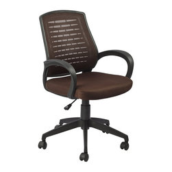 Leick Furniture - Leick Furniture Mesh Vented Back Office Chair in a Deep Brown Finish - Leick Furniture - Office Chairs - 10067DB - A breathable mesh backrest offers supportive comfort in this fully adjustable office chair. Arm rests reduce fatigue and adjustable seat height with back tensioner offer optimum comfort adjustments.