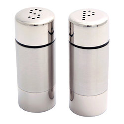 Cuisinox - Cuisinox Salt and Pepper Shaker Set - This unique salt and pepper shaker set is made of high quality stainless steel in a two-toned finish. It features screw on  in. S in.  and  in. P in.  caps for convenience. The perfect accompaniment to place settings at all of your holiday meals.