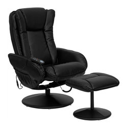 Flash Furniture - Massaging Upholstered Recliner with Ottoman - Massage controls on recliner and ottoman. Comfortably designed chair. Black leather upholstery. Double padded cushioned Back and seat. Right side pocket. Swivel seat. Leather wrapped bases. On/off remote control. Auto control. Timer control. Heat control. Nine massage modes. Five intensity levels. Massages shoulders, lumbar, seat and thighs. Green certified: Yes. Supplier warranty: Our products have a two year warranty for parts. This warrants against defects in manufacturing. If the products are used excessively (more than 8 hours/day), and have excessive weight (over 225 lbs.) applied, the warranty is void. New parts will be sent out, or the item will be replaced at our discretion. Made from foam, leather and metal. Minimal assembly required. Seat: 20.25 in. W x 20 in. D x 19.5 in. H. Seat thickness: 5 in.. Back: 22 in. W x 28 in. H. Arm height from floor: 22.5 in.. Arm height from seat: 7 in.. Weight capacity: 250 lbs.. Chair: 29.25 in. W x 30 - 46 in. D x 42 in. H (56 lbs.). Ottoman: 19 in. W x 16 in. D x 16.5 in. H