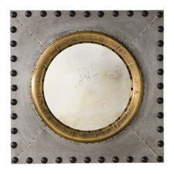 Arteriors - Hartley Mirror - We love the mix of the antiqued gold metal wrap around the antiqued convex mirror in conjunction with the raw zinc and bronze oversized nail heads. A little nautical, a little industrial and very visually interesting. Features security cleat for vertical or horizontal hanging.