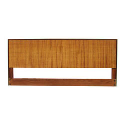 Knoll - Consigned Knoll Caned Headboard- Queen Size - Early Florence Knoll for Knoll Associates Queen-size headboard in walnut with caned decoration. Hollywood frame or wall-mount. Original Knoll tag on back. This design is no longer in production.
