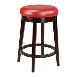 Standard Furniture - Standard Furniture Smart Stools Round Stool with Red Leatherette Seat - 24 Inch - Smart stools, like their name says, are smart additions to any kitchen or casual dining space offering compact and versatile seating options.