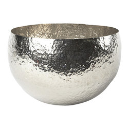 "Lazy Susan - Hammered Nickel-Plated Brass Bowl - The texture of this Hammered Nickel-Plated Brass Bowl is stunning at a dinner party. Filled with decorative accessories, it is sophisticated with a hint of the rough-hewed. small: 9.75""x7.75"" large: 12.5""x8.75"""