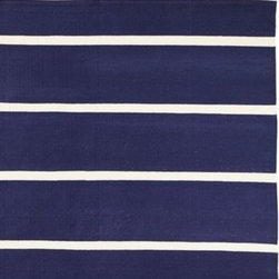 Serena & Lily - Jersey Stripe Dhurrie Navy - It was love at first sight when we saw this super-chunky stripe, made all the more dramatic in classic navy with slices of natural ivory.