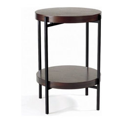 TFG Furniture - Martini End Table in Java Oak - TFG Furniture Martini End Table in Java Oak. Martini Table in Java Oak. Frames are 1/2' square steel. Frames are powdercoated. Java Oak wood tops and shelves are 1 1/2' thick, veneered. Wipe clean with damp cloth.