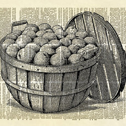Altered Artichoke - Bushel Basket Of Peaches Dictionary Art Print, Black - A beautiful antique illustration of a bushel basket full of fresh peaches. Yum! Perfect for your kitchen or dining room decor.