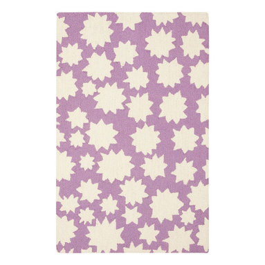 Stars rug in Violet - We took inspirations for this collection by just staring at the sky.  The stars, rainbows, and clouds are infinite reminders to celebrate the natural beauty all around us.  This collection works in many spaces - a child's room, an office, a living room, anywhere.