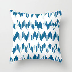 Wet Paint Pillow Cover in Peacock - A trendy zigzag design gets a rustic-inspired update with impressions of dripping paint running through the design. If you love up-to-date seasonal fashion with just a touch of something different���this one's for you!