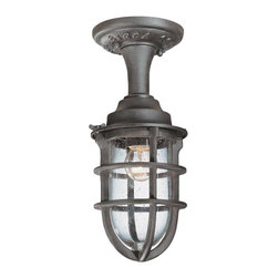 "Troy Lighting - Nautical Rust Wilmington 1 Light Semi-Flush Ceiling Fixture with Seedy Glass - Dimensions: W - 5.5"", H - 12.5"""