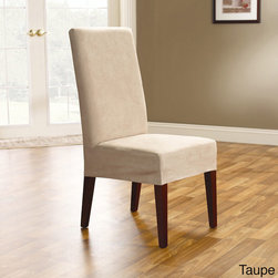 Sure Fit - Smooth Suede Shorty Dining Room Chair Covers (Set of 2) - Make chairs look brand new with these classy dining chair slipcovers. These slipcovers are made from 100-percent polyester and are machine washable, which gives them the elegance of suede without all the hassle. They fit most dining chairs up to 42' high.