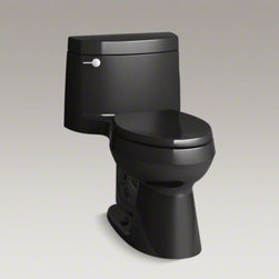 KOHLER - KOHLER Cimarron(R) Comfort Height(R) one-piece elongated 1.28 gpf toilet with Aq - With its versatile, fresh design, this one-piece Cimarron toilet matches a range of contemporary and classic decors. The elongated bowl offers extra room, with seating at the height of a standard chair for ease of use. A 1.28-gallon flush provides significant water savings of up to 16,500 gallons per year, compared to a 3.5-gallon toilet, without sacrificing performance. This toilet features innovative AquaPiston technology, a patented flush engine that delivers a fast, powerful, and virtually plug-free flush.