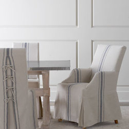'Westcreek' Corseted Dining Chairs - These Westcreek dining chairs have hardwood frames with cotton/linen slipcovers. Notice the tie-back detail.