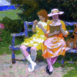 """Art MegaMart - Edward Potthast A Park Bench - 21"""" x 28"""" Premium Canvas Print - 21"""" x 28"""" Edward Potthast A Park Bench premium canvas print reproduced to meet museum quality standards. Our museum quality canvas prints are produced using high-precision print technology for a more accurate reproduction printed on high quality canvas with fade-resistant, archival inks. Our progressive business model allows us to offer works of art to you at the best wholesale pricing, significantly less than art gallery prices, affordable to all. We present a comprehensive collection of exceptional canvas art reproductions by Edward Potthast."""