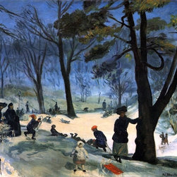 """William James Glackens Central Park in Winter  Print - 16"""" x 20"""" William James Glackens Central Park in Winter premium archival print reproduced to meet museum quality standards. Our museum quality archival prints are produced using high-precision print technology for a more accurate reproduction printed on high quality, heavyweight matte presentation paper with fade-resistant, archival inks. Our progressive business model allows us to offer works of art to you at the best wholesale pricing, significantly less than art gallery prices, affordable to all. This line of artwork is produced with extra white border space (if you choose to have it framed, for your framer to work with to frame properly or utilize a larger mat and/or frame).  We present a comprehensive collection of exceptional art reproductions byWilliam James Glackens."""