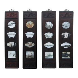Golden Lotus - Chinese Rosewood Dream Stone Scenery Wall Panel Set - This is a set of 4 pieces dream stone scenery art with wooden frame.  It is a traditional Chinese wall decoration accent with clean and subtle character. There is a hinge at the top for wall hanging.