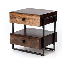 Four Hands - Milo End Table - Your lofty ideals of finding high style, ecofriendly materials and handmade simplicity have come to fruition. With its two wood drawers held aloft by metal supports, its warm finish and its modern sensibility, it will move seamlessly from room to room, making a great end table, nightstand or office organizer.