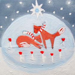 Keira Lagunas - Snowstorm .Original Painting On Tiny Canvas By Keira Lagunas - Small original, hand painted acrylic painting.