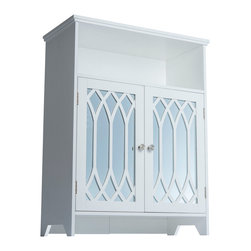 None - Kathy White 2-door Floor Cabinet with Mirror - The Kathy Floor Cabinet features two doors with mirrors on a cathedral arched panel in a white finish.  The cabinet's classic design offers ample storage and will complement any contemporary decor to suit any room of your home.