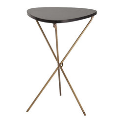 Wilmington Iron/Marble Side Table - When you are using the Wilmington Folding Side Table for entertaining cocktail guests or holding your paperwork, its three crossed legs of oiled and oxidized brass support its dark, almond-shaped top in attractive style.  When you don't need the extra surface room, fold up the top and the useful accent table slides neatly away.  This easily-stored occasional table is a must for the transitional home, its unusual shape marking a design centered around combining functionality with aesthetics.