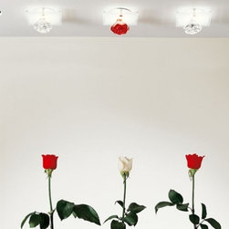 """Axo - Axo Shiraz UP ceiling light - SPOT - The Shiraz ceiling lamp (SPOT) from Axo was designed by Manuel Vivian and made in Italy. The Shiraz ceiling spot lamp is for indoor installation and made with clear or red Bohemian crystal roses and chrome-plated fittings. The Shiraz collection is also available in ceiling, wall lamps and recessed spotlights, and comes in white screen-printed tempered glass.   Products description: The Shiraz UP ceiling lamp (SPOT) from Axo was designed by Manuel Vivian and made in Italy. The Shiraz ceiling spot lamp is for indoor installation and made with clear or red Bohemian crystal roses and chrome-plated fittings. The Shiraz collection is also available in wall lamps and recessed spotlights, and comes in white screen-printed tempered glass.  Details:                         Manufacturer:                         Axo                                         Designer:                         Manuel Vivian                                         Made  in:            Italy                            Dimensions:                         Height: 3.1"""" (7.9cm) X Width: 4.4"""" (11cm)                                                     Light bulb:                                      1 X 35W GU3.5 12V                                         Material                         Metal, crystal"""