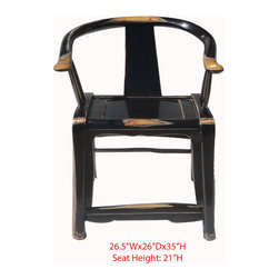"Chinese Black Lacquered Horse Arm Chair - This is a Chinese black lacquer arm chair which is made of solid elm wood. It is also called ""Horse Chair"" in Chinese culture."