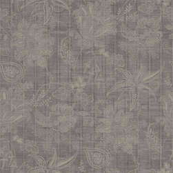 Fairwinds Studio - Pewter Jacobean Trail Wallpaper - Evoking the look of an antique lace tablecloth, this wallpaper makes antiques pop in your dining or living room, but also adds soft contrast to contemporary decor. You can wash it easily and peel it right off the wall when you're ready for a new look. Made in the USA.