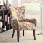 Coaster - Beige Transitional Accent Chair - This plush accent chair has nailheads on sides and back with the cappuccino legs.