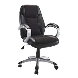 Modway - Resonate Office Chair in Black - Get into rhythm with punctuated moments of acceleration. The Resonate High Back Office Chair is a good and economical lesson in what makes functionality so meaningful. With a plush mesh padded back and seat and fashionably rounded dual-toned arms, take your day to the max without maxing out your credit card. Resonate comes with lumbar support, pneumatic height adjustment, a black nylon base, dual wheel carpet casters and a full 360 degree swivel.