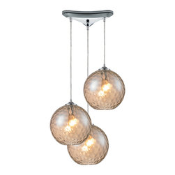 Elk Lighting - Watersphere 3-Light Pendant in Polished Chrome and Champagne Glass - Watersphere 3 light pendant in polished chrome and champagne glass