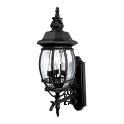 Capital Lighting - Capital Lighting French Country Traditional Outdoor Wall Sconce X-KB3689 - This Capital Lighting French Country Traditional Outdoor Wall Sconce is truly a piece with a little bit of flair and a lot of style. Notice the details of the magnificent frame in a sleek, black finish and the clear beveled glass panels. It's an elegant three-light piece with a timeless appeal, and one that adds a touch of sophistication to most any outdoor space.