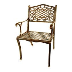 Oakland Living - Cast Aluminum Dining Chair in Rustproof Antiq - Provides years of durable, rustproof performance, even in coastal and other harsh weather areas. High-grade polyester powder coat finish. Long lasting finish with minimal maintenance. Electrostatic application of the powder coat finish ensures a smooth, even finish. Stable and wobble-free. Step-by-step instructions make assembly quick and easy. Brass and stainless steel assembly hardware ensure sturdiness and security for many years. Double QC Quality program means that each piece is assembled prior to being unassembled and packaged ensures that all parts are present and that the Bench will assemble easily. Cast aluminum construction. Antique Bronze finish. Seat height: 18.5 in.. 22 in. W x 22.5 in. D x 35 in. H (23 lbs.)