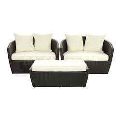 Kindred 3PC Outdoor Sofa Set in Espresso/White - Enhance a conversation area in your outdoor space with this Kindred Outdoor Sofa Set by East End Imports, consisting of 2 Chairs and Ottoman. With all-weather cushions finished in White and Espresso UV resistant rattan, the set will meet any weather conditions.