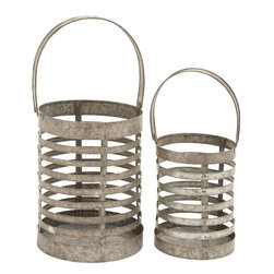 Benzara - Elegant Metal Galvanized Lantern - Set of 2 - Simple and elegant these attractive-looking lanterns have an identical design and are available in a set of two. This Metal Galvanized Lantern makes for a unique decor accent and can be teamed perfectly with modern- casual or transitional setups. These lanterns are made from premium grade metal to offer durability and are galvanized for enhanced longevity. Galvanization process makes the design resistant to corrosion and rusting to offer hassle-free usage for years to come. It features a cylindrical design with an open top to allow for easy addition of block candles. Banded pattern on these lanterns augments the design aesthetics and gives off bright, clear light. It is sturdy and durable, assuring you years of service.