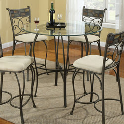Coaster - 120838 Beveled 42in. Glass Top Counter Height Table - Transform your kitchen or dining room with the distinctive round glass dining table and chairs set or round glass counter height and stools set. A metal base features intricate details that contrasts beautifully with the creamy neutral upholstery on the coordinating chairs. Place in your eat-in kitchen or dining room for distinctive style that can be dressed up or dressed down to suit your needs.