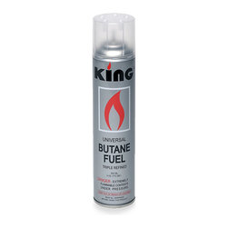 King Butane Refill - Triple-refined for long-term use in finer refillable lighters, this King Butane Refill can be kept on hand for replenishing our decorative torches or any butane-fueled flame. The canister will refill most large lighters about 25 times, so this supply paired with an attractive lighter is a far more economical way to light your candles and outdoor fire pits than disposable versions.