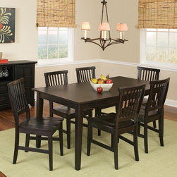Home Styles - Arts and Crafts 7 Piece Dining Set - Features : Features: -7 Piece dining set includes one table and six chairs.-Includes 18'' leaf (extends the table to 66''.-Constructed of solid wood.-Rich multi-step ebony finish.-Collection: Arts and Crafts.-Distressed: No.-Top Finish: Black.-Base Finish: Black.-Chair Finish: Black.-Powder Coated Finish: No.-Gloss Finish: No.-Top Material: Hardwood solids.-Base Material: Hardwood solids.-Chair Material: Hardwood solids.-Solid Wood Construction: No.-Reclaimed Wood: No.-Number of Items Included: 7.-Scratch Resistant: No.-Rust Resistant: No.-Leaf Included: Yes -Number of Leaves: 1..-Seating Capacity: 6.-Wine Storage: No.-Shelving: No.-Drawers: No.-Stemware Holder: No.-Upholstered Side Chair: No.-Upholstered Arm Chair: No.-Upholstered Bench: No.-Cushioned Chair Seats: No.-Chair Casters: No.-Lighted: No.-Outdoor Use: No.-Commercial Use: No.-Recycled Content: No.-Eco-Friendly: No.-Product Care: Clean with damp cloth.Specifications: -ISTA 3A Certified: Yes.Dimensions: -Overall dimensions : 30'' H x 48-66'' W x 36'' D.-Overall Chair Dimensions: 37.75'' H x 17.75'' W x 22.25'' D.-Table: -Overall Table Height - Top to Bottom: 30.-Overall Table Width - Side to Side: 48.-Overall Table Depth - Front to Back: 36.-Overall Table Weight: 105..-Side Chair: -Overall Side Chair Height - Top to Bottom: 37.75.-Overall Side Chair Width - Side to Side: 17.75.-Overall Side Chair Depth - Front to Back: 22.25.-Side Chair Seat Height: 18.-Overall Side Chair Weight: 22..Assembly: -Assembly Required: Yes.-Tools Needed: Phillips screwdriver.-Additional Parts Required: No.Warranty: -Product Warranty: 30 day parts warranty.