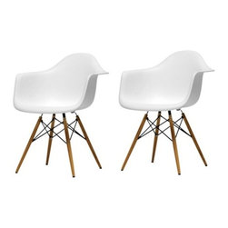 Ariel - Set of 2 Eames Style Daw Molded Plastic Dining Armchair with Wood Eiffel Legs - A true modern classic design, this classic dining armchair with wood Eiffel legs remains popular today in cafes, home offices, and dining areas. Sporting a clean, simple, retro, yet modern design sculpted to fit the body, this gorgeous armchair is the perfect addition to the home or office. Available in white, black, or light blue.