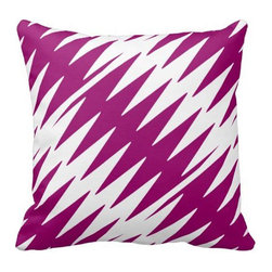 The Textile Co. - Modern Chevron Zig Zag Designer Pillow in Exclusive Fabric - 20 x 20 - Modern Purple / Orchid Chevron Zig Zag Designer Pillow in Exclusive One of a Kind Hand Drawn Fabric - 20 x 20