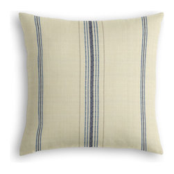 Blue Feedsack-Style Cotton Stripe Custom Throw Pillow - The every-style accent pillow: this Simple Throw Pillow works in any space.  Perfectly cut to be extra fluffy, you'll not only love admiring it from afar but snuggling up to it too!  We love it in this classic rustic blue & tan feedsack style stripe made in super soft woven cotton.  bye bye scratchy burlap!