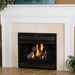 Newport Wood Fireplace Mantel - The geometric design of the Newport will complement any modern home decor. It is also available in a number of different woods and stains.